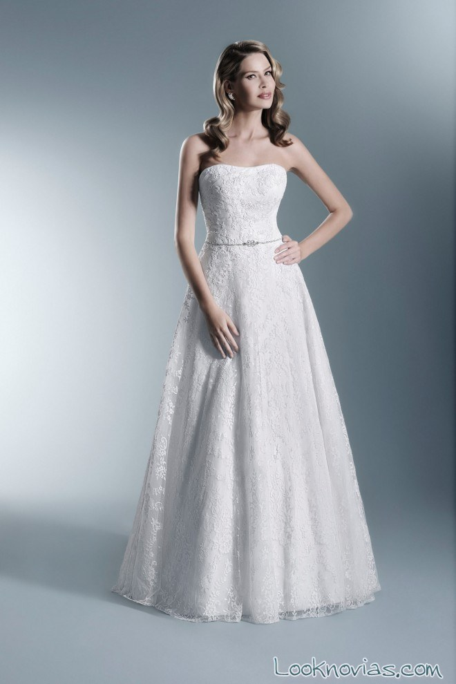 vestido blanco de novia corte evasé