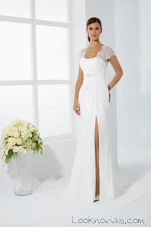 vestido blanco novias 2017 mangas encaje