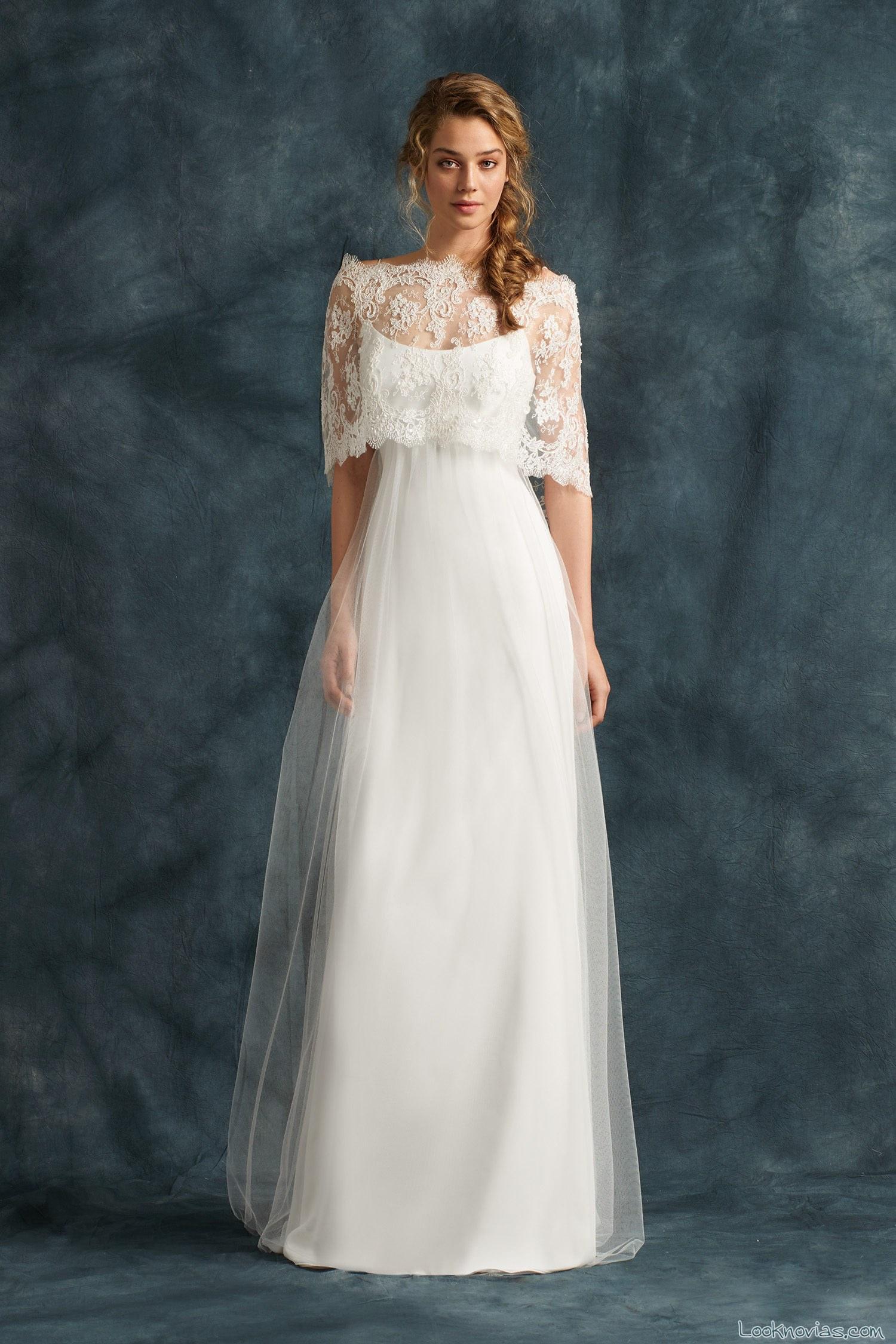 vestido blanco novias con bolero encajes