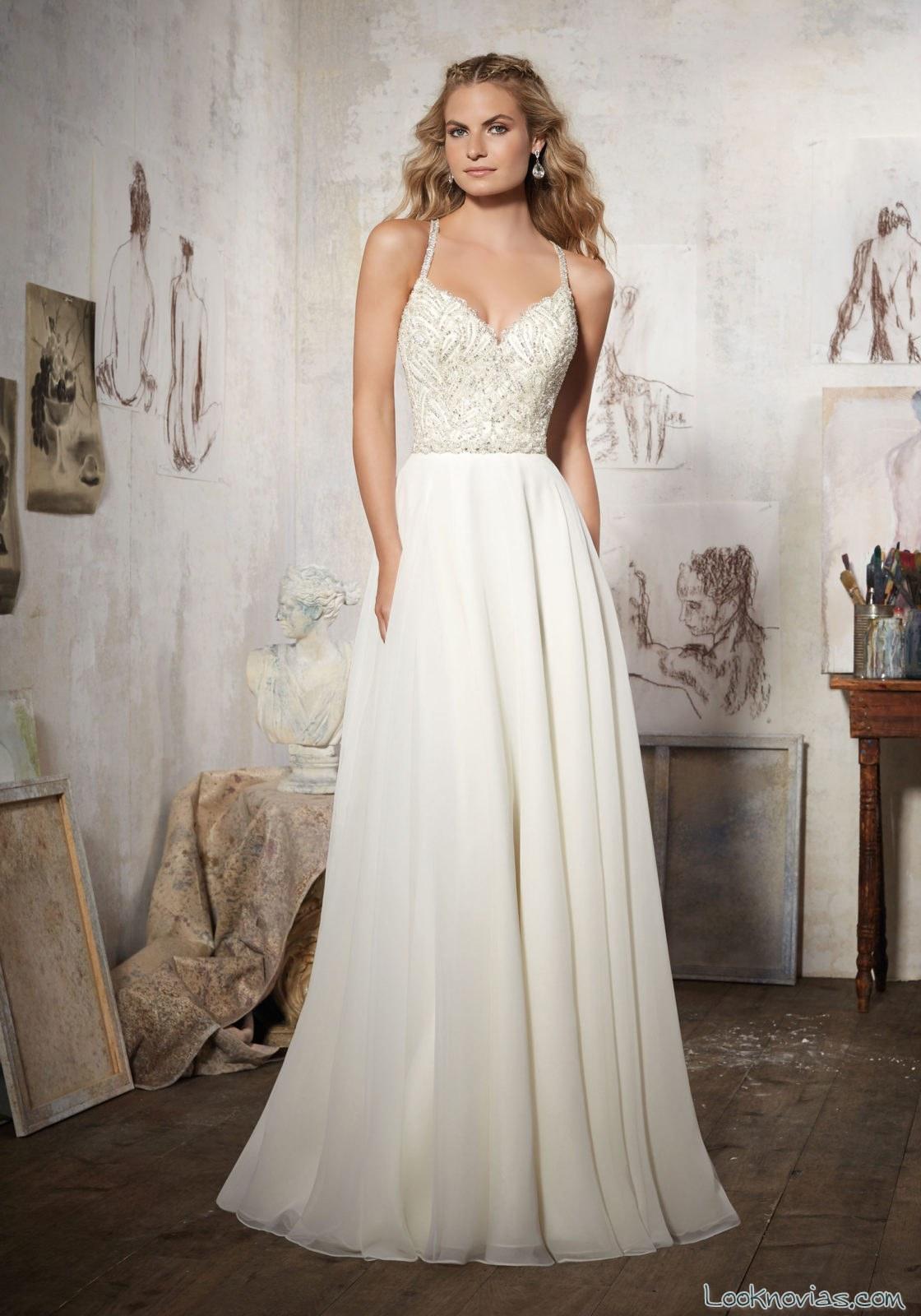 vestido blanco novias corte ligero