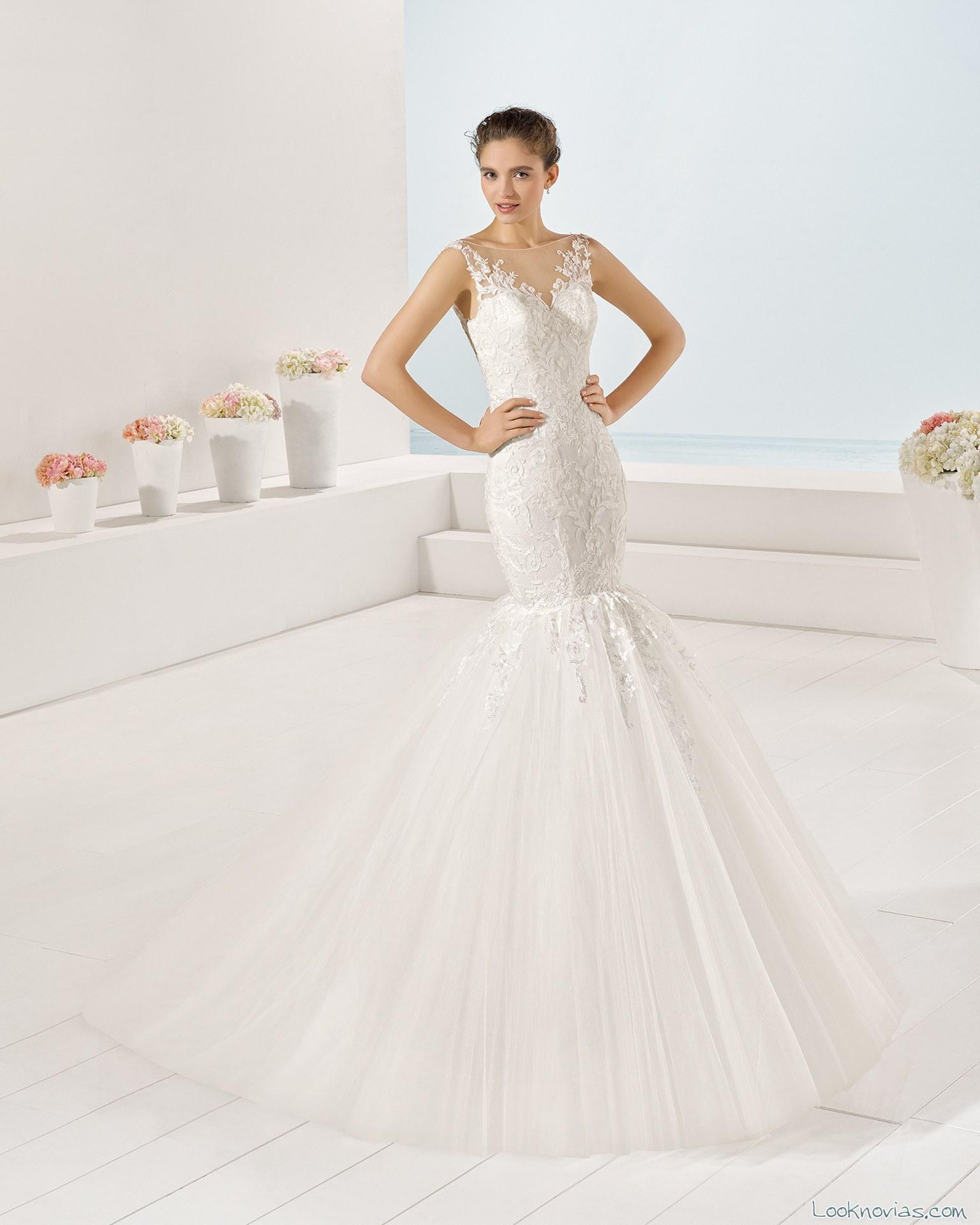 vestido blanco novias de corte sirena