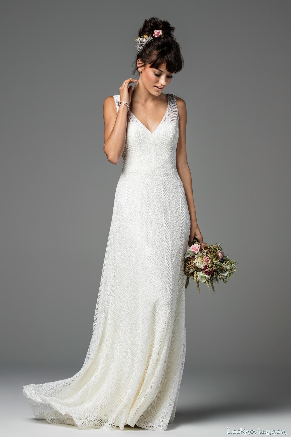 vestido blanco novias watters ligera caída
