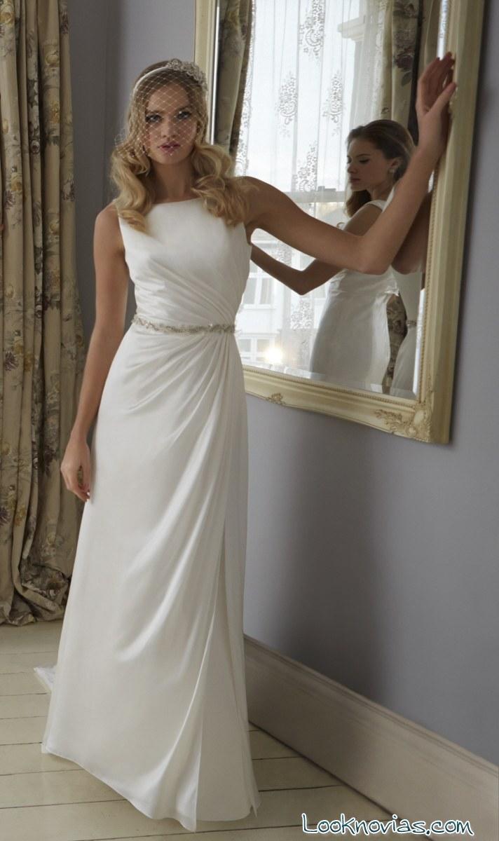 vestido blanco recto de novia