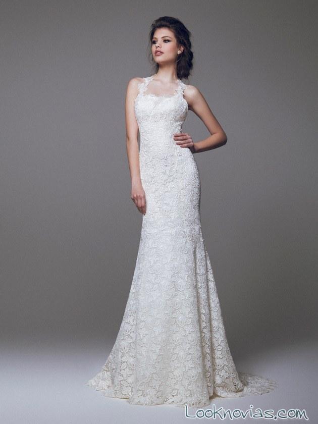vestido blanco y recto de novia blumarine