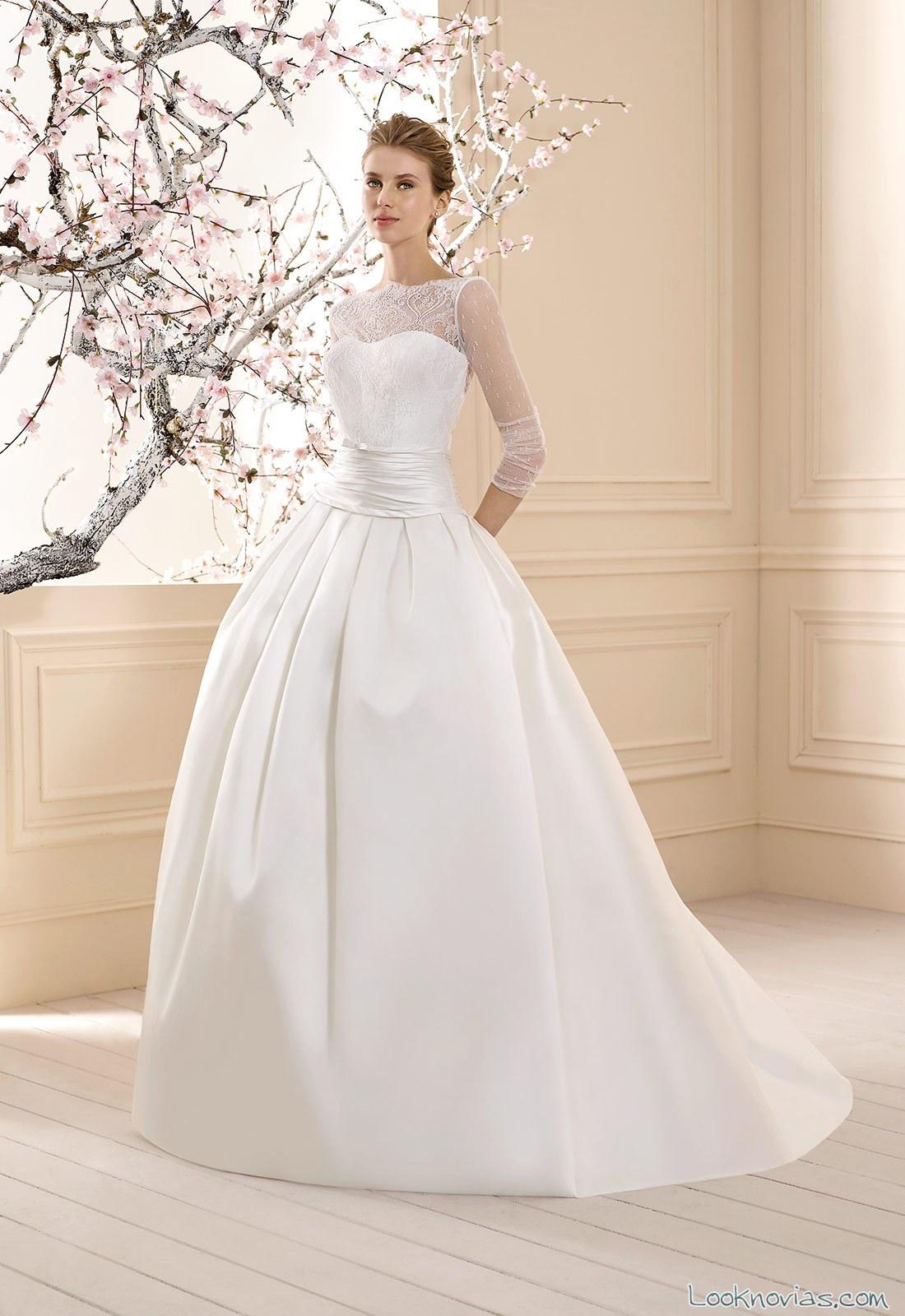 vestido cabotine con falda sencilla para novia