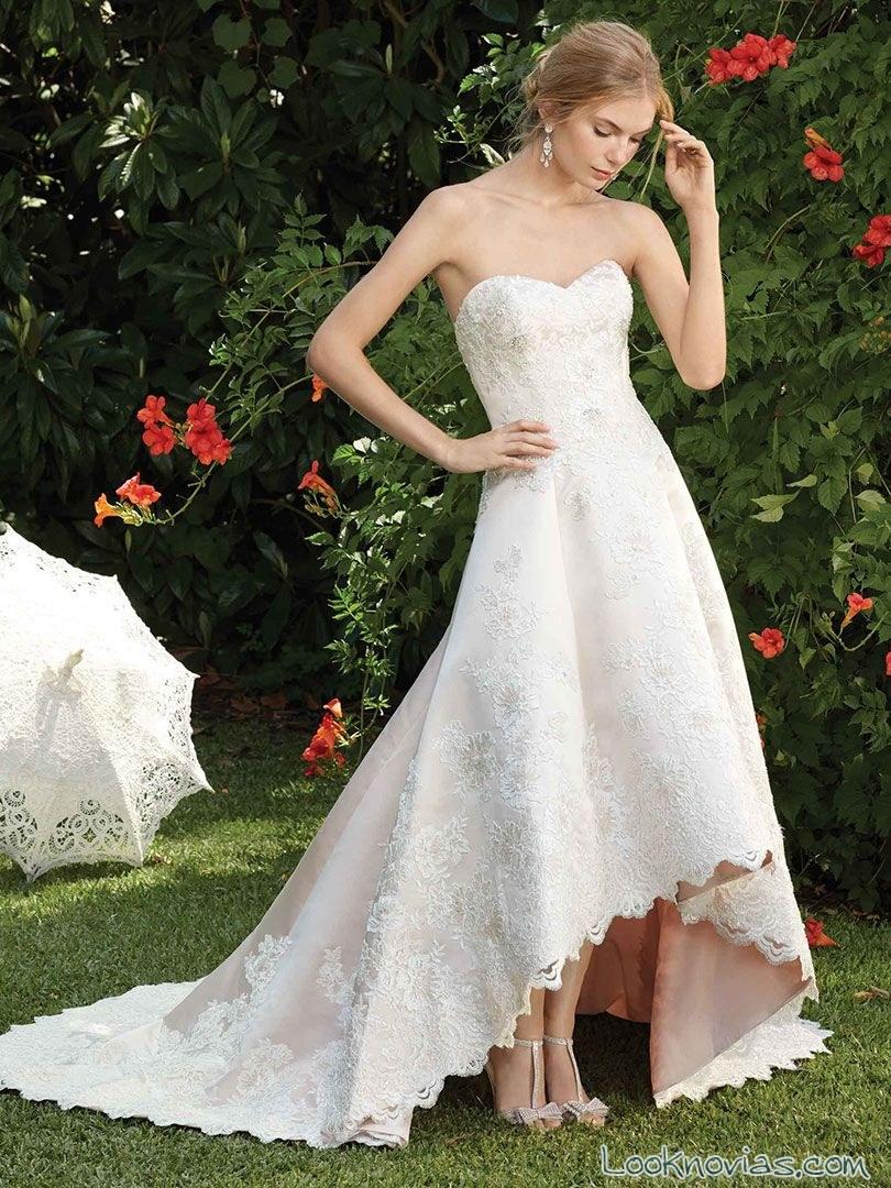vestido casablanca bridal con falda asimétrica