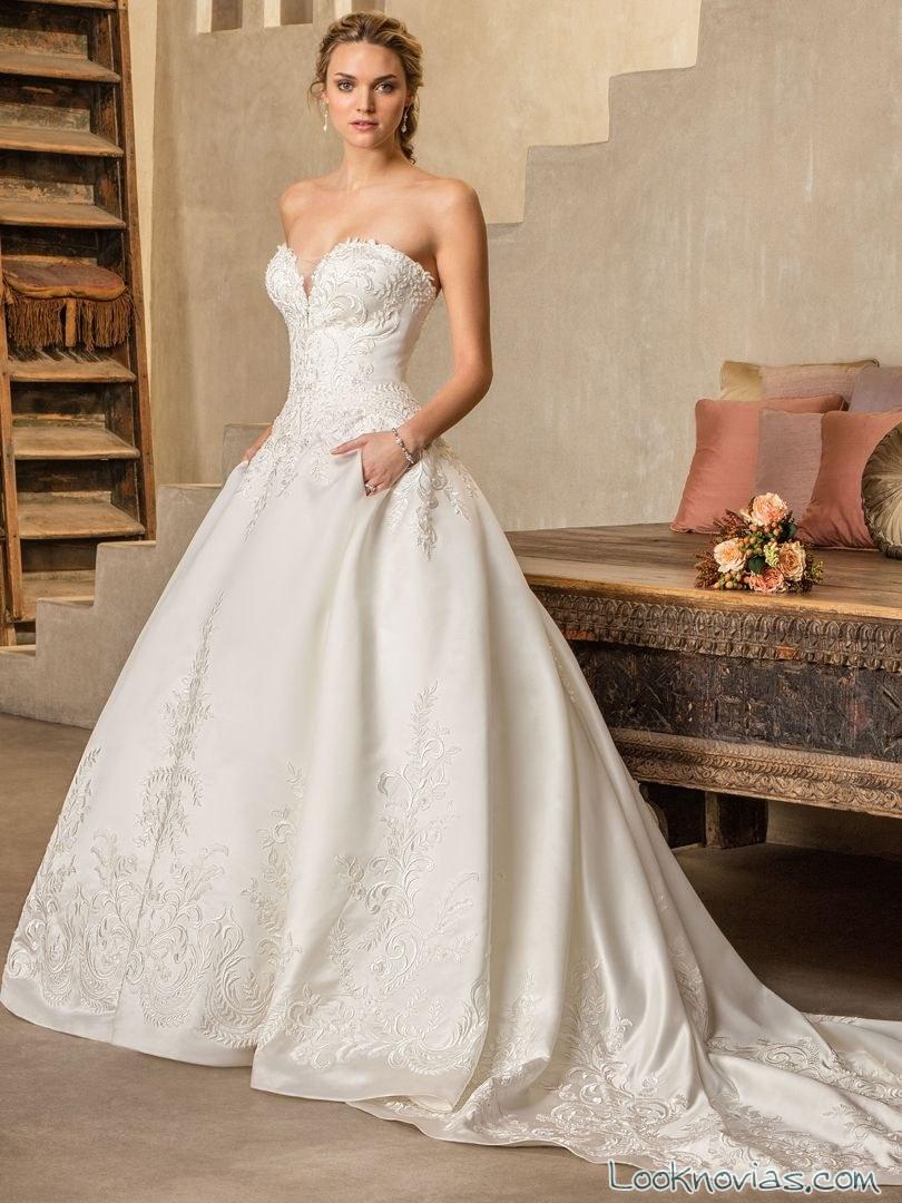 vestido casablanca bridal sencillo satinado
