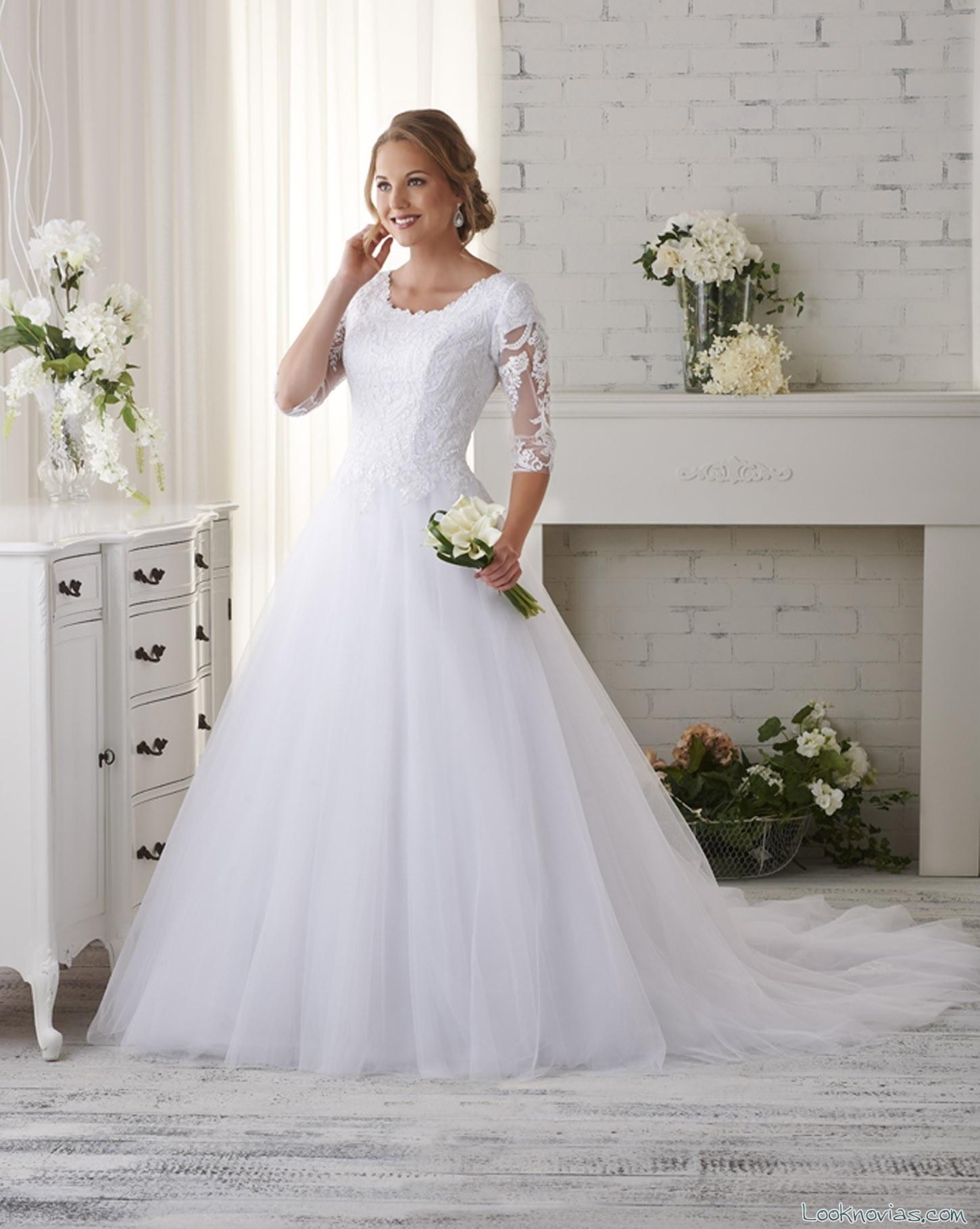 vestido clásico de media manga bonny bridal