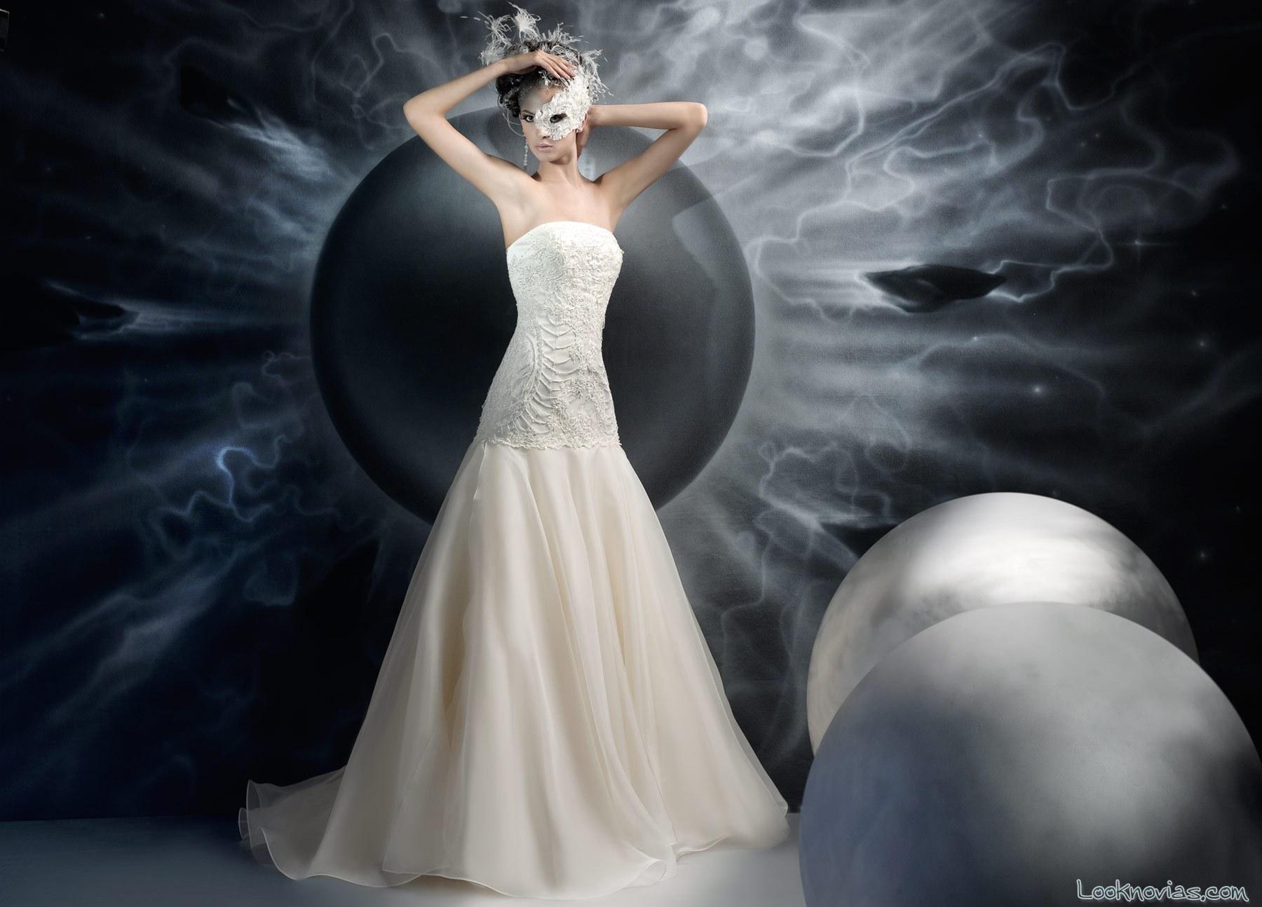 vestido con corpiño para novias jaiis