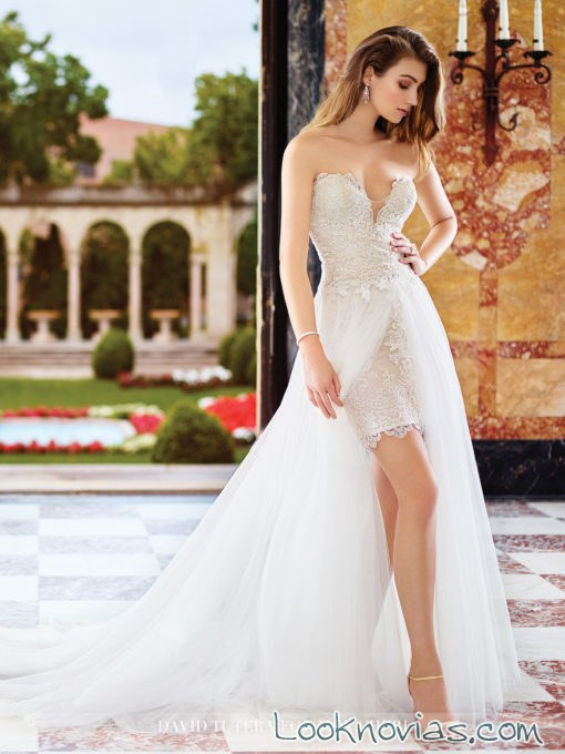 vestido con doble falda david tutera