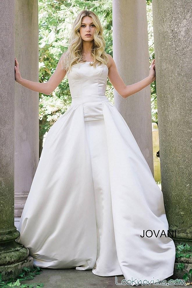 vestido con doble falda sencillo de jovani