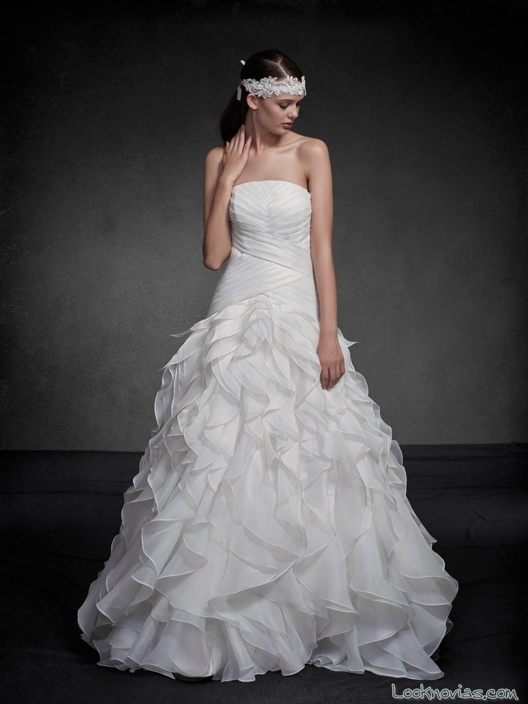 vestido con falda abullonada novias