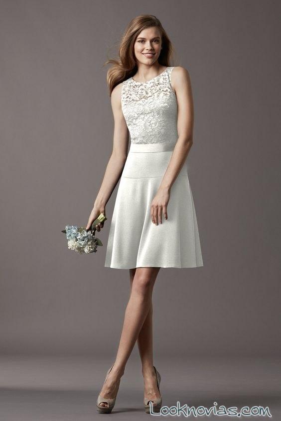 vestido con falda evasé corta para novias
