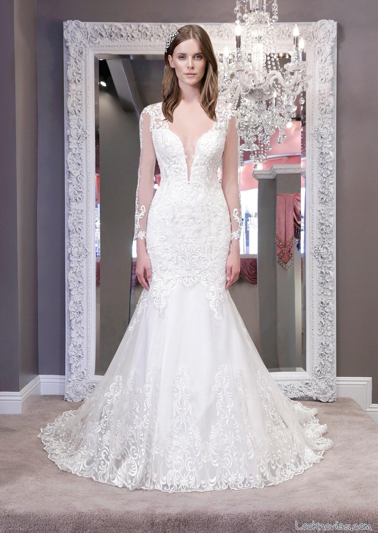 vestido con mangas de winnie bridal