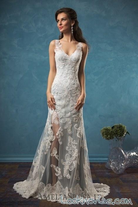 vestido con transparencias para novias 2017