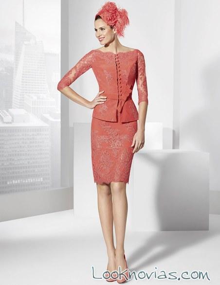 vestido coral corto franc sarabia