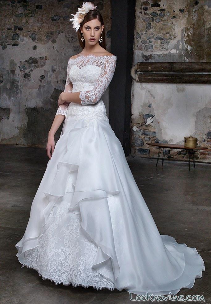 vestido corte evasé con volantes gritti spose