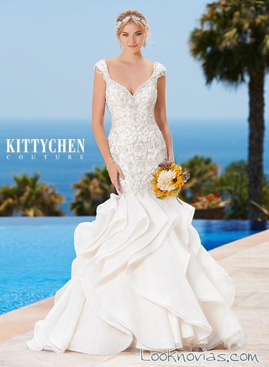 vestido corte sirena con volantes novias alta costura