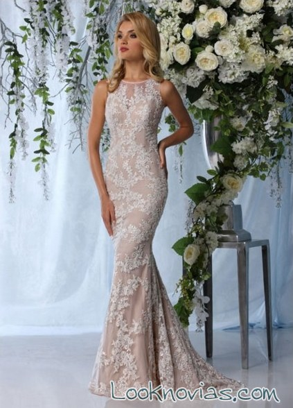 vestido corte sirena en color impression bridal