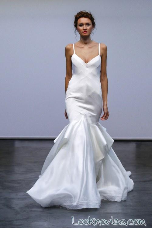 vestido corte sirena satinado novias