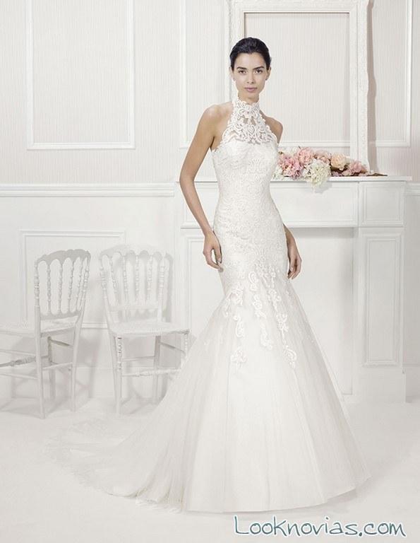Vestido de alma novia con escote halter