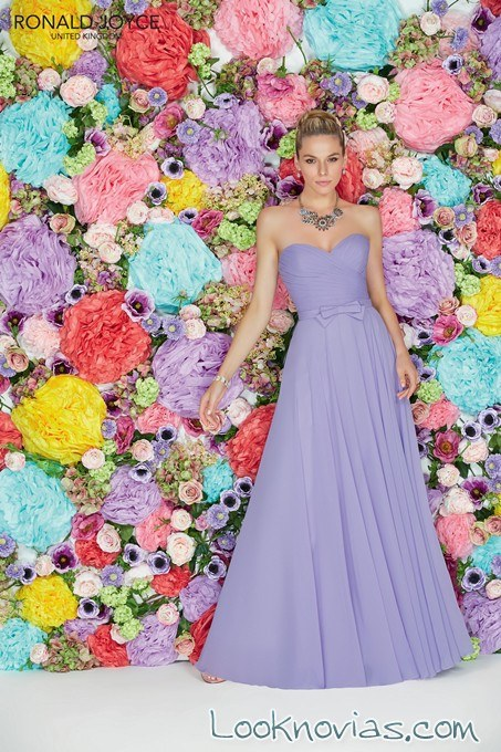 vestido de dama en lila palabra de honor