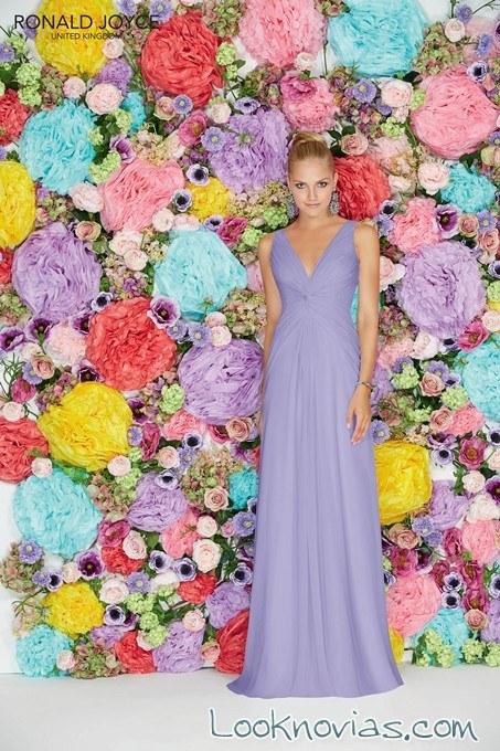 vestido de dama en lila y con tirantes