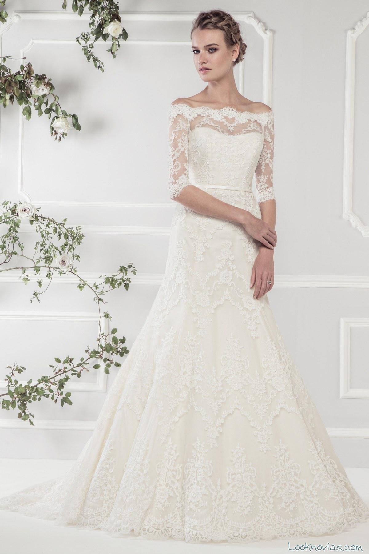 vestido de ellis bridal con hombros caídos