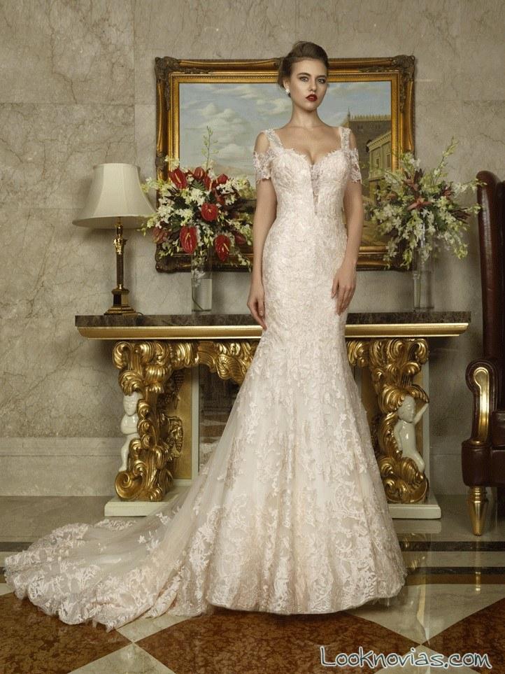 vestido de encajes elegante para novias
