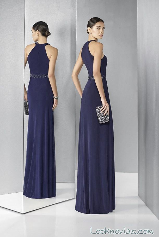 vestido de fiesta en azul marino