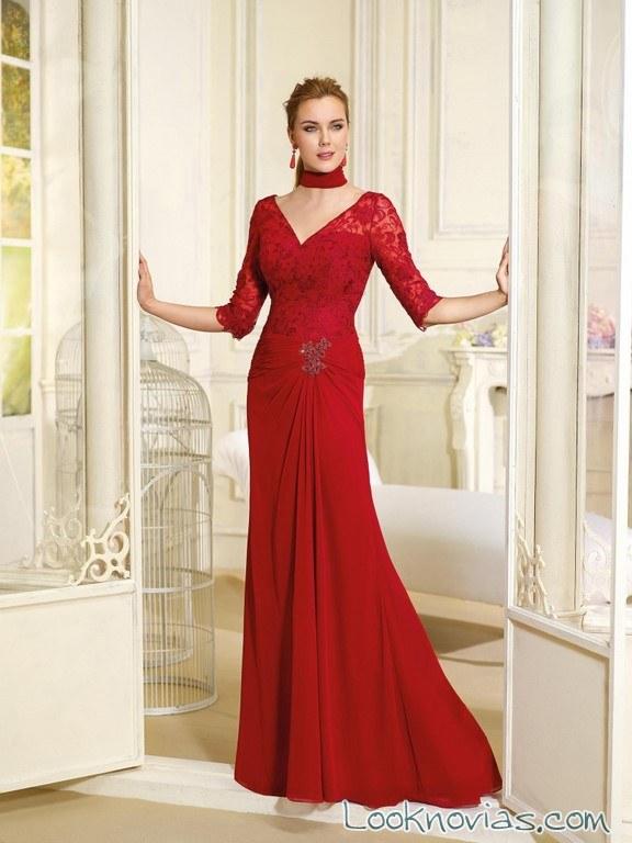 vestido de fiesta fara sposa en color rojo