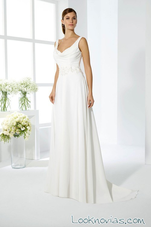 vestido de novia 2017 con finos tirantes