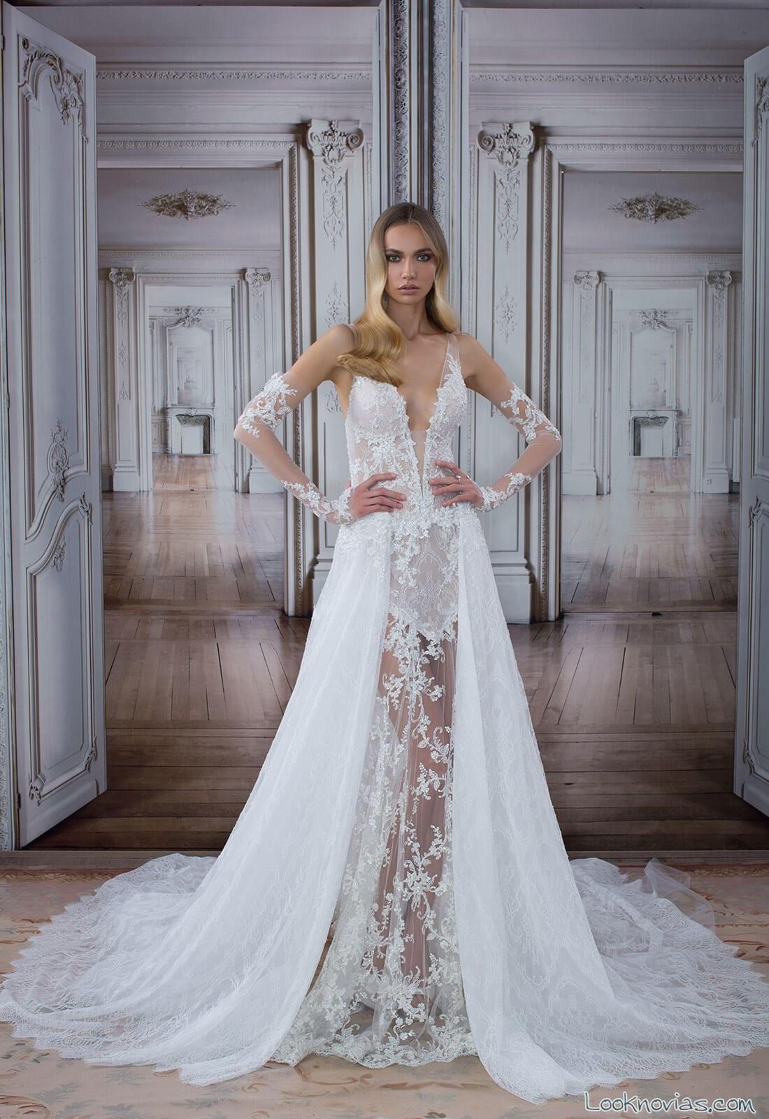 vestido de novia atrevido con doble capa