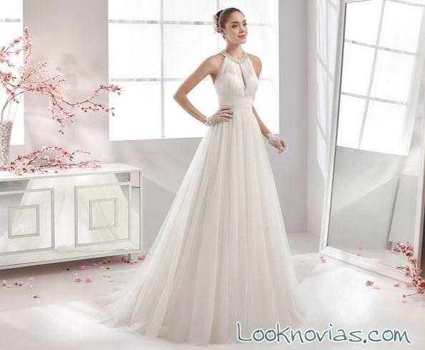 vestido de novia aurora con escote halter