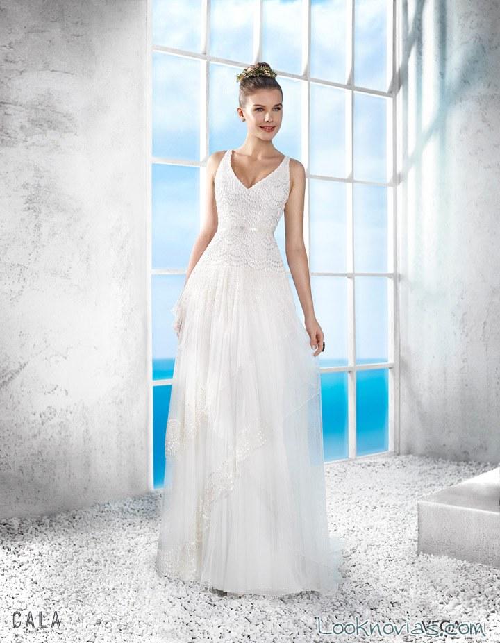 vestido de novia cala con tirantes