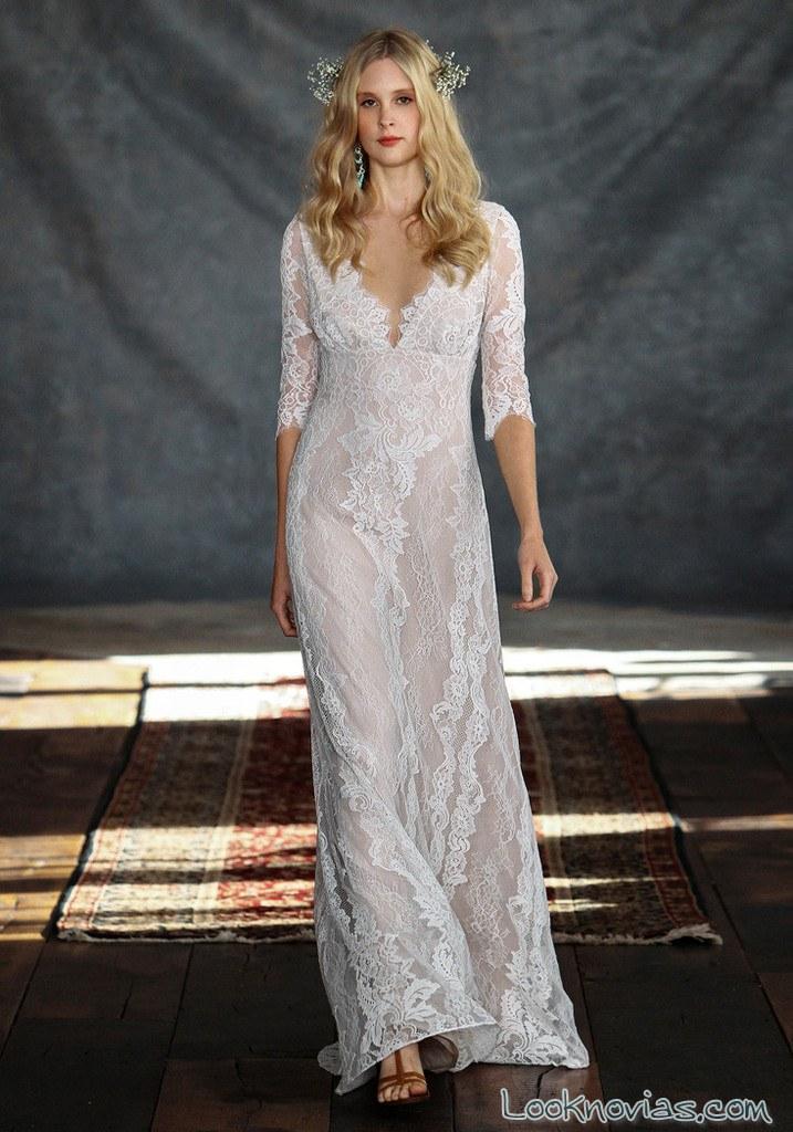 vestido de novia claire pettibone con manga
