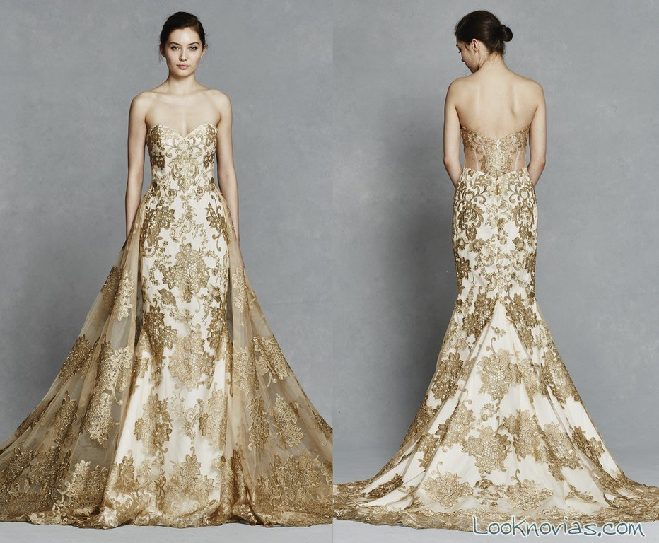 vestido de novia con bordados en dorado