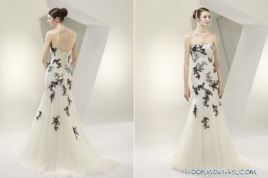 vestido de novia con bordados negros