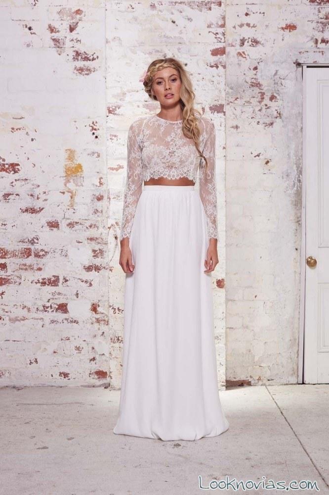 vestido de novia con crop top