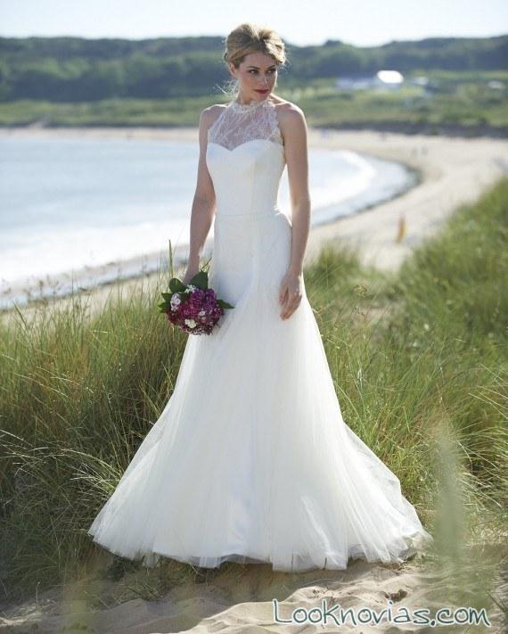 vestido de novia con escote halter de allin