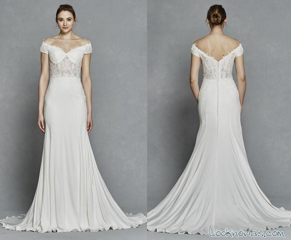 vestido de novia con escote kelly faetanini 2017
