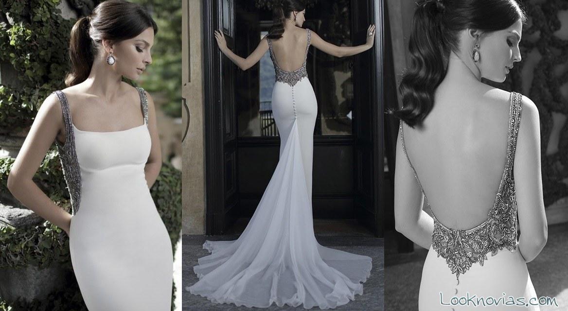 Vestido de novia con escote pedrería plateada