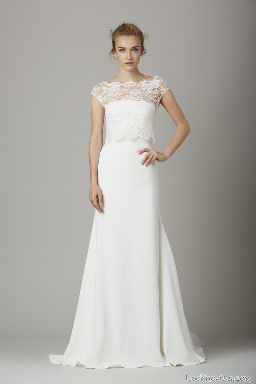 vestido de novia con escote sencillo