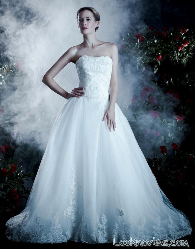 vestido de novia con falda de gasa anjolique
