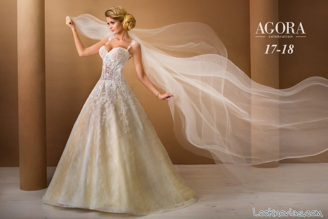 vestido de novia con falda en tonos amarillos