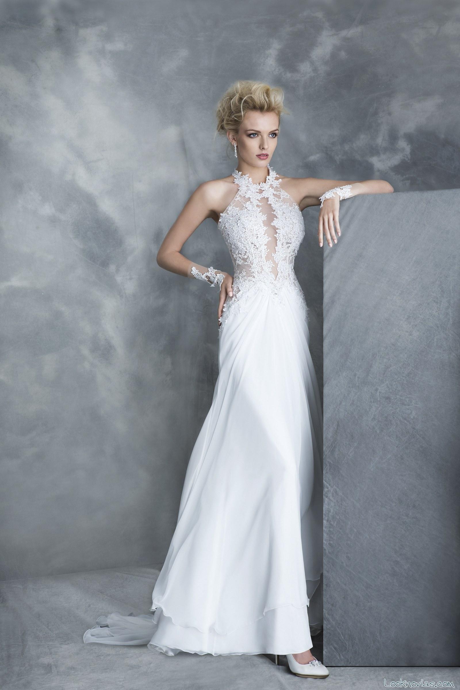 vestido de novia con falda recta y escote