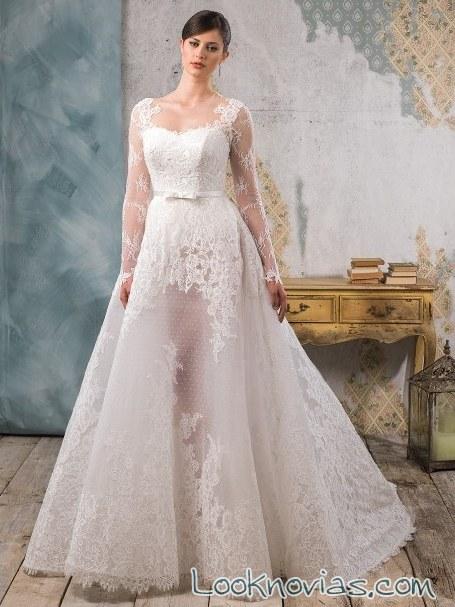 vestido de novia con falda transparente
