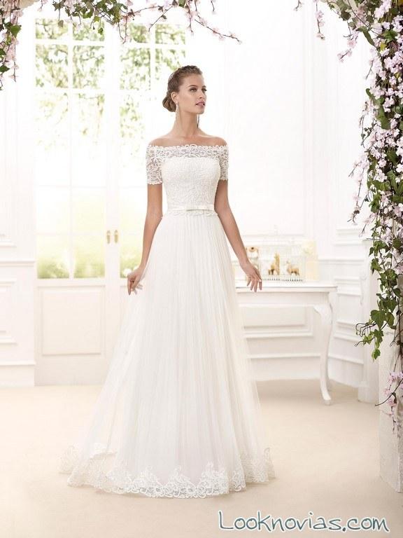 vestido de novia con hombros caídos de novia d´art