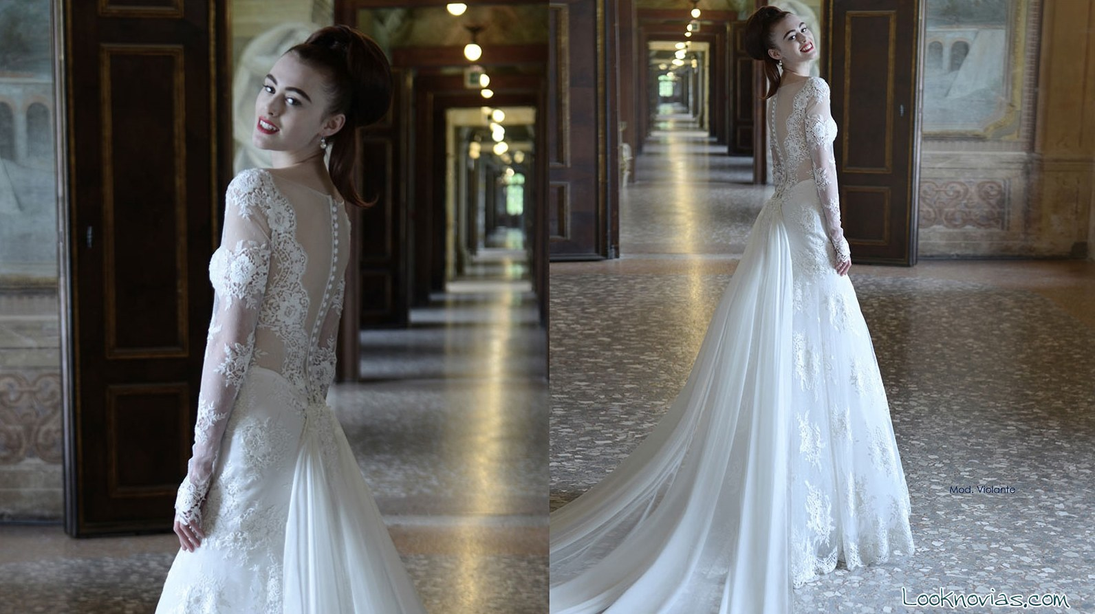vestido de novia con manga larga y bordados