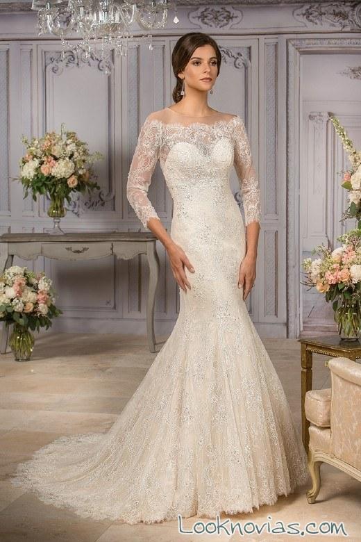 vestido de novia con mangas de jasmine bridal
